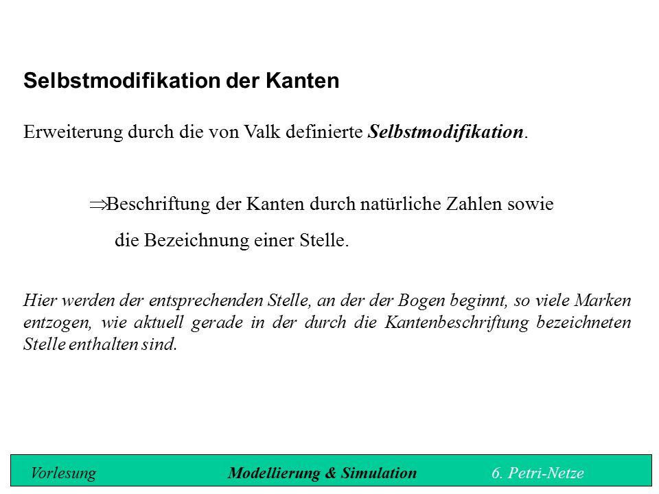 Selbstmodifikation der Kanten Erweiterung durch die von Valk definierte Selbstmodifikation.