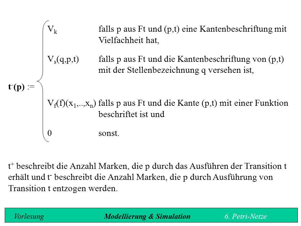 V k falls p aus Ft und (p,t) eine Kantenbeschriftung mit Vielfachheit hat, V s (q,p,t)falls p aus Ft und die Kantenbeschriftung von (p,t) mit der Stellenbezeichnung q versehen ist, t - (p) := V f (f)(x 1,..,x n ) falls p aus Ft und die Kante (p,t) mit einer Funktion beschriftet ist und 0sonst.