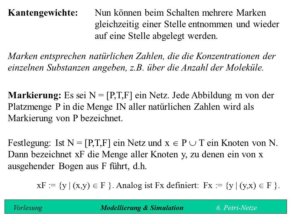 Glucose Glykolyse Br.tr.- säure Decarboxy- lierung CO 2 Acetaldehyd Reduktion NADH + H + NAD + Ethanol 211 1 1 1 1 1 1 Im Beispiel der alkoholischen Gärung werden folgende Kapazitäten für die einzelnen Substanzen festgelegt: Glucose:[2, 2000]Brenztraubensäure: [0, 4000] CO 2 : [0, w]Acetaldehyd:[0, 4000] NADH + H + :[0, w]NAD + :[0, w] Ethanol:[0, 4000] Ausgehend vom Zustand m' ist nun folgender Nachfolgezustand möglich: [2, 2000][0, 4000] [0, w] [0, 4000] [0, w] [0, 4000]