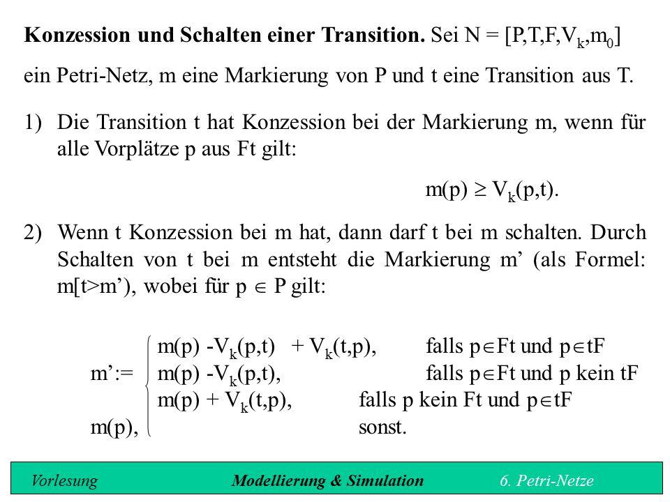 Sei m 0 der Vektor der Anfangsmarkierung, C Matrix, die die Veränderungen durch das Schalten von Transitionen beschreibt und x Vektor, der angibt, welche Transitionen geschaltet werden, so ergibt sich folgende Beziehung: m' = m 0 + Cx m' ist die durch die Anwendung der Transitionen neu entstehende Markierung des Netzes.