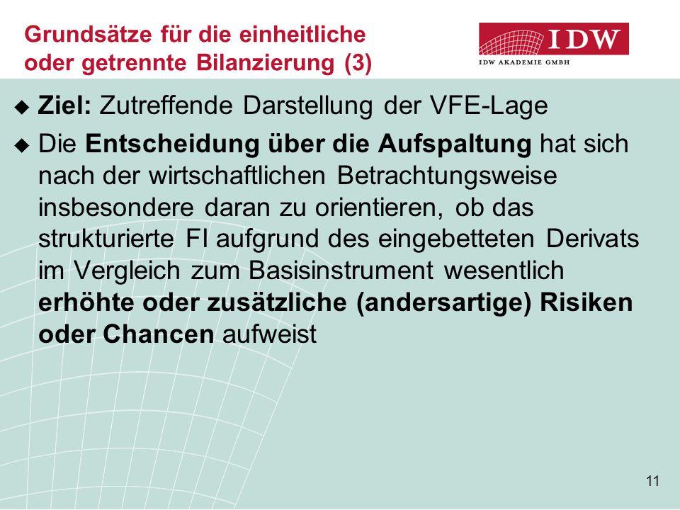 11 Grundsätze für die einheitliche oder getrennte Bilanzierung (3)  Ziel: Zutreffende Darstellung der VFE-Lage  Die Entscheidung über die Aufspaltun