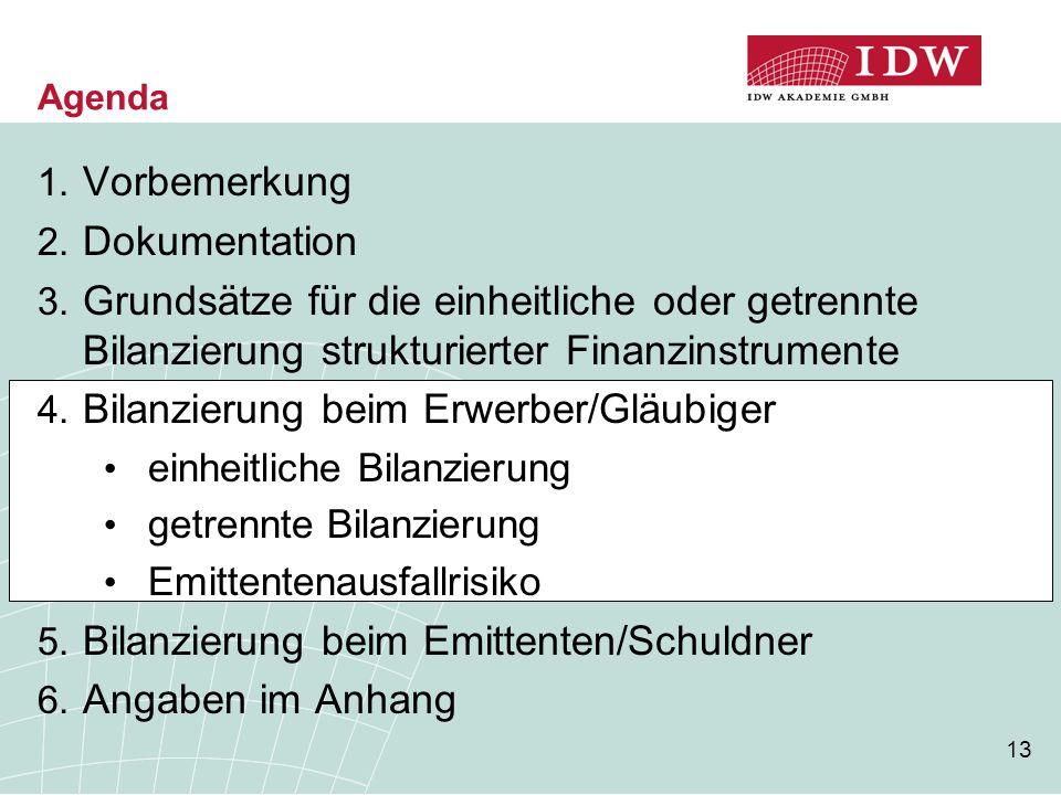 13 Agenda 1. Vorbemerkung 2. Dokumentation 3. Grundsätze für die einheitliche oder getrennte Bilanzierung strukturierter Finanzinstrumente 4. Bilanzie