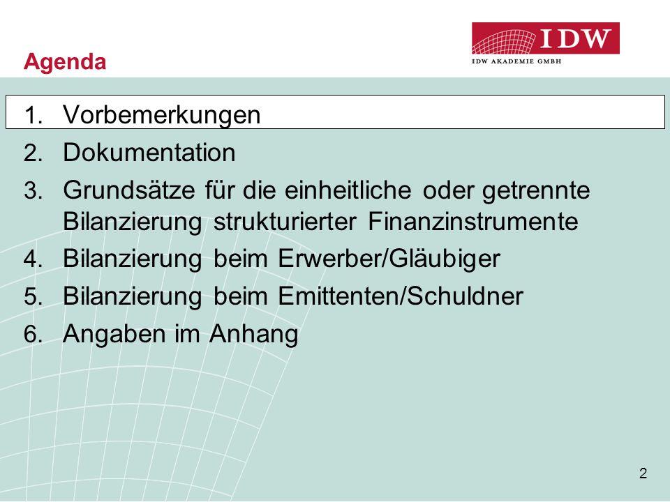 2 Agenda 1. Vorbemerkungen 2. Dokumentation 3. Grundsätze für die einheitliche oder getrennte Bilanzierung strukturierter Finanzinstrumente 4. Bilanzi