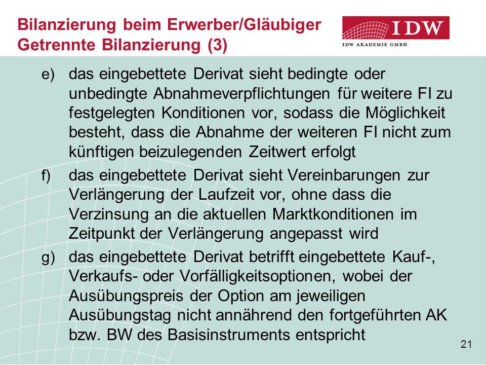21 Bilanzierung beim Erwerber/Gläubiger Getrennte Bilanzierung (3) e) das eingebettete Derivat sieht bedingte oder unbedingte Abnahmeverpflichtungen f