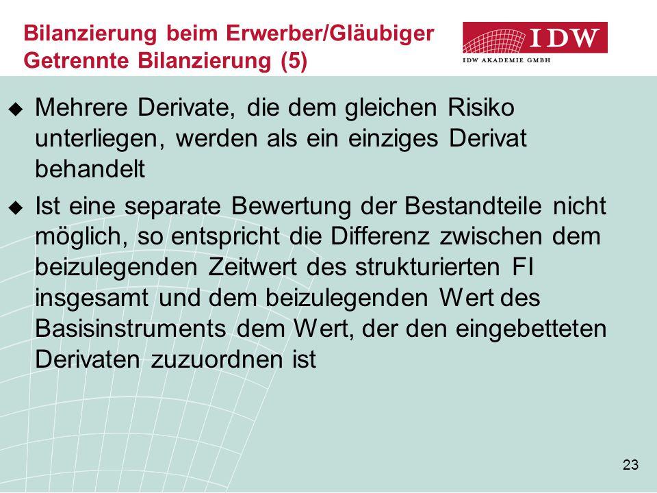 23 Bilanzierung beim Erwerber/Gläubiger Getrennte Bilanzierung (5)  Mehrere Derivate, die dem gleichen Risiko unterliegen, werden als ein einziges De