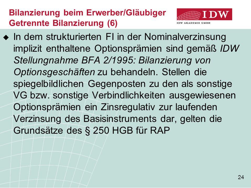 24 Bilanzierung beim Erwerber/Gläubiger Getrennte Bilanzierung (6)  In dem strukturierten FI in der Nominalverzinsung implizit enthaltene Optionspräm