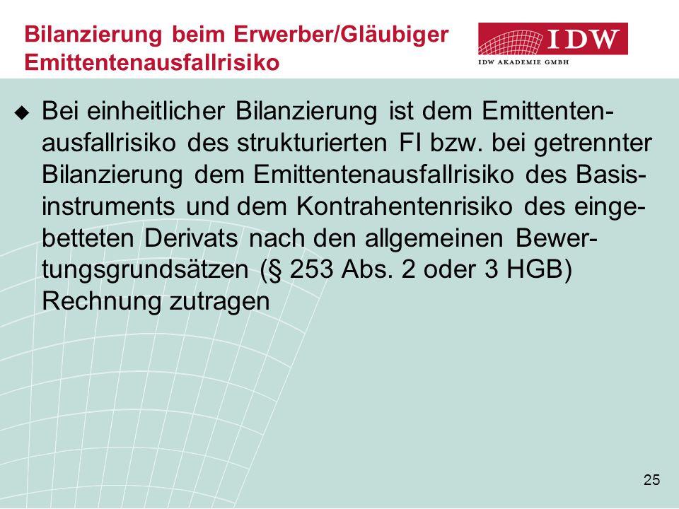 25 Bilanzierung beim Erwerber/Gläubiger Emittentenausfallrisiko  Bei einheitlicher Bilanzierung ist dem Emittenten- ausfallrisiko des strukturierten