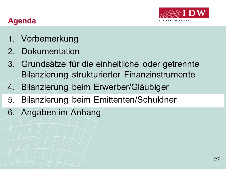 27 Agenda 1. Vorbemerkung 2. Dokumentation 3. Grundsätze für die einheitliche oder getrennte Bilanzierung strukturierter Finanzinstrumente 4. Bilanzie