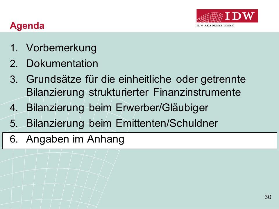 30 Agenda 1. Vorbemerkung 2. Dokumentation 3. Grundsätze für die einheitliche oder getrennte Bilanzierung strukturierter Finanzinstrumente 4. Bilanzie