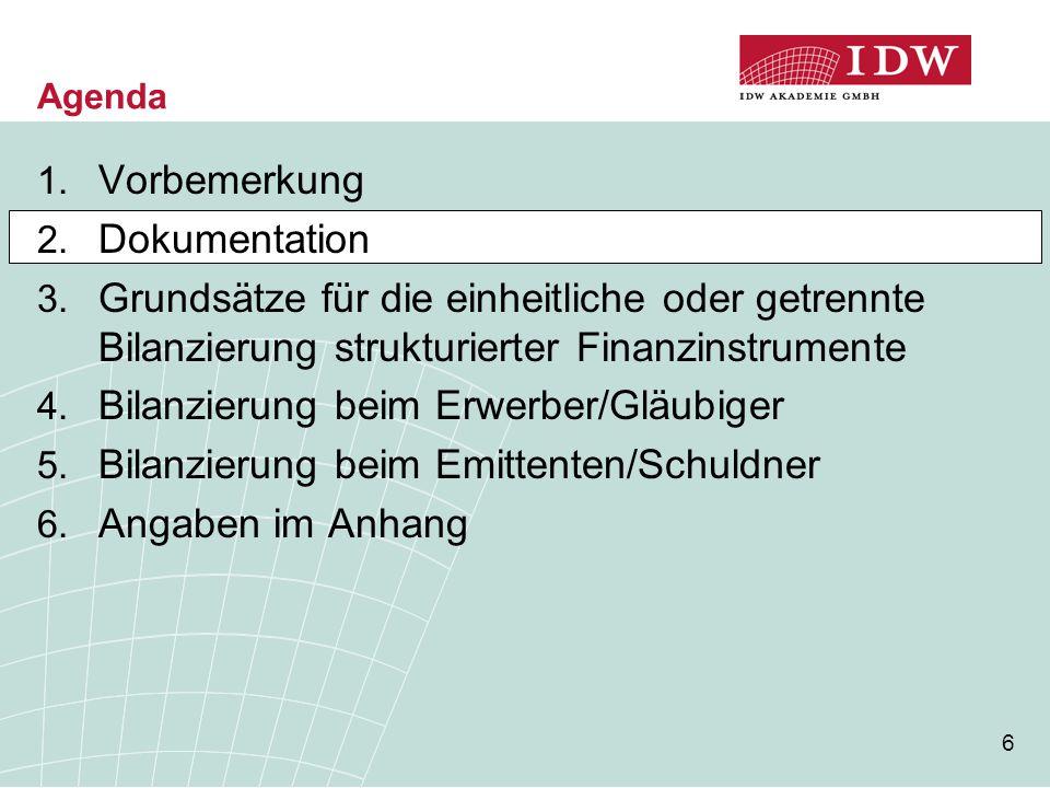 6 Agenda 1. Vorbemerkung 2. Dokumentation 3. Grundsätze für die einheitliche oder getrennte Bilanzierung strukturierter Finanzinstrumente 4. Bilanzier