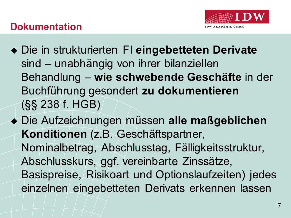 7 Dokumentation  Die in strukturierten FI eingebetteten Derivate sind – unabhängig von ihrer bilanziellen Behandlung – wie schwebende Geschäfte in de