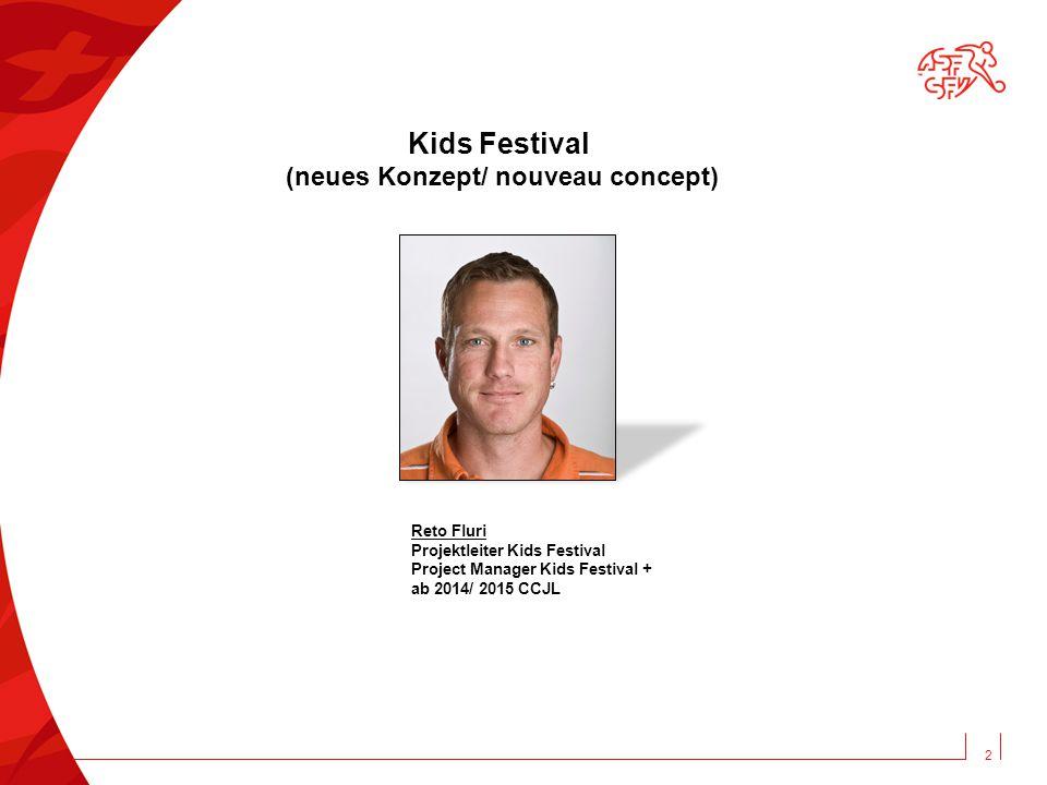 2 Kids Festival (neues Konzept/ nouveau concept) Reto Fluri Projektleiter Kids Festival Project Manager Kids Festival + ab 2014/ 2015 CCJL