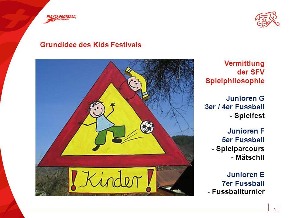 3 Grundidee des Kids Festivals Vermittlung der SFV Spielphilosophie Junioren G 3er / 4er Fussball - Spielfest Junioren F 5er Fussball - Spielparcours - Mätschli Junioren E 7er Fussball - Fussballturnier