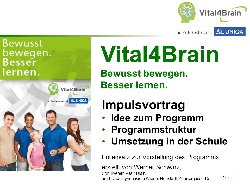 Chart 1 Vital4Brain Bewusst bewegen. Besser lernen. Impulsvortrag Idee zum Programm Programmstruktur Umsetzung in der Schule Foliensatz zur Vorstellun