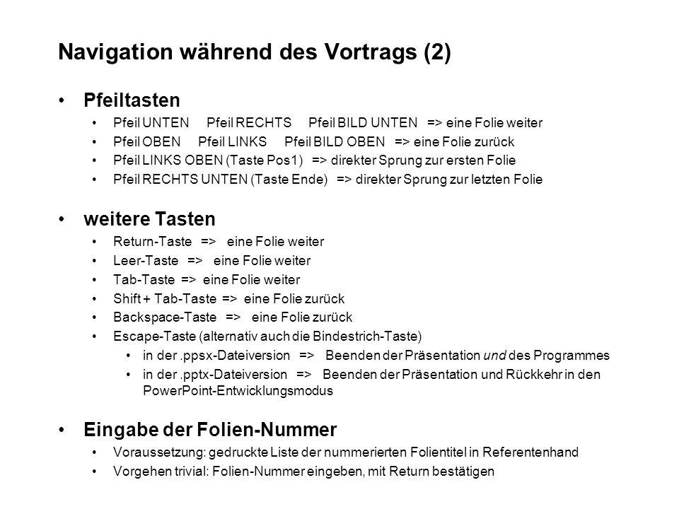 Navigation während des Vortrags (3) Kontextmenü kann i.