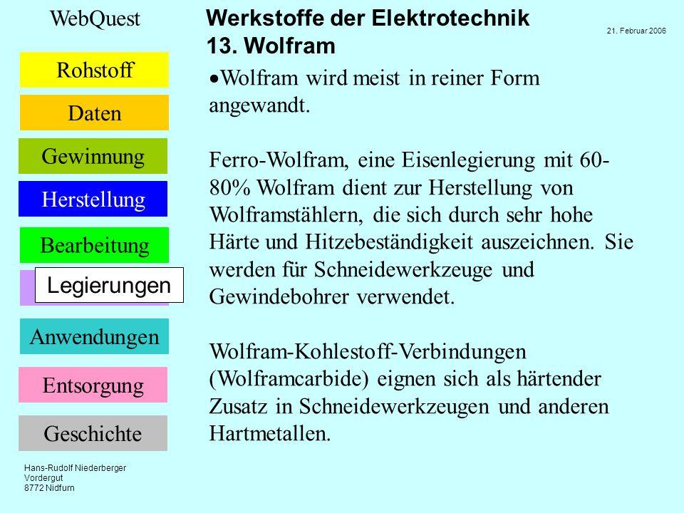 Hans-Rudolf Niederberger Vordergut 8772 Nidfurn 21. Februar 2006 Rohstoff Daten Bearbeitung Anwendungen Legierungen WebQuest Werkstoffe der Elektrotec