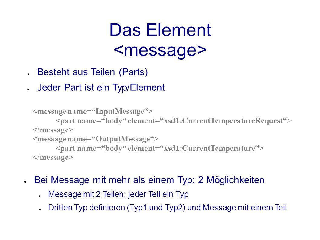 Das Element ● Besteht aus Teilen (Parts) ● Jeder Part ist ein Typ/Element ● Bei Message mit mehr als einem Typ: 2 Möglichkeiten ● Message mit 2 Teilen; jeder Teil ein Typ ● Dritten Typ definieren (Typ1 und Typ2) und Message mit einem Teil