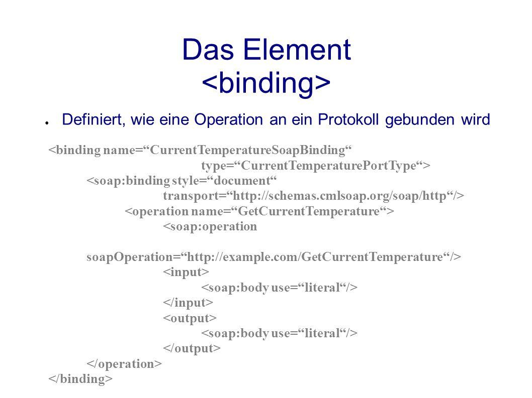 Das Element ● Definiert, wie eine Operation an ein Protokoll gebunden wird <binding name= CurrentTemperatureSoapBinding type= CurrentTemperaturePortType > <soap:binding style= document transport= http://schemas.cmlsoap.org/soap/http /> <soap:operation soapOperation= http://example.com/GetCurrentTemperature />