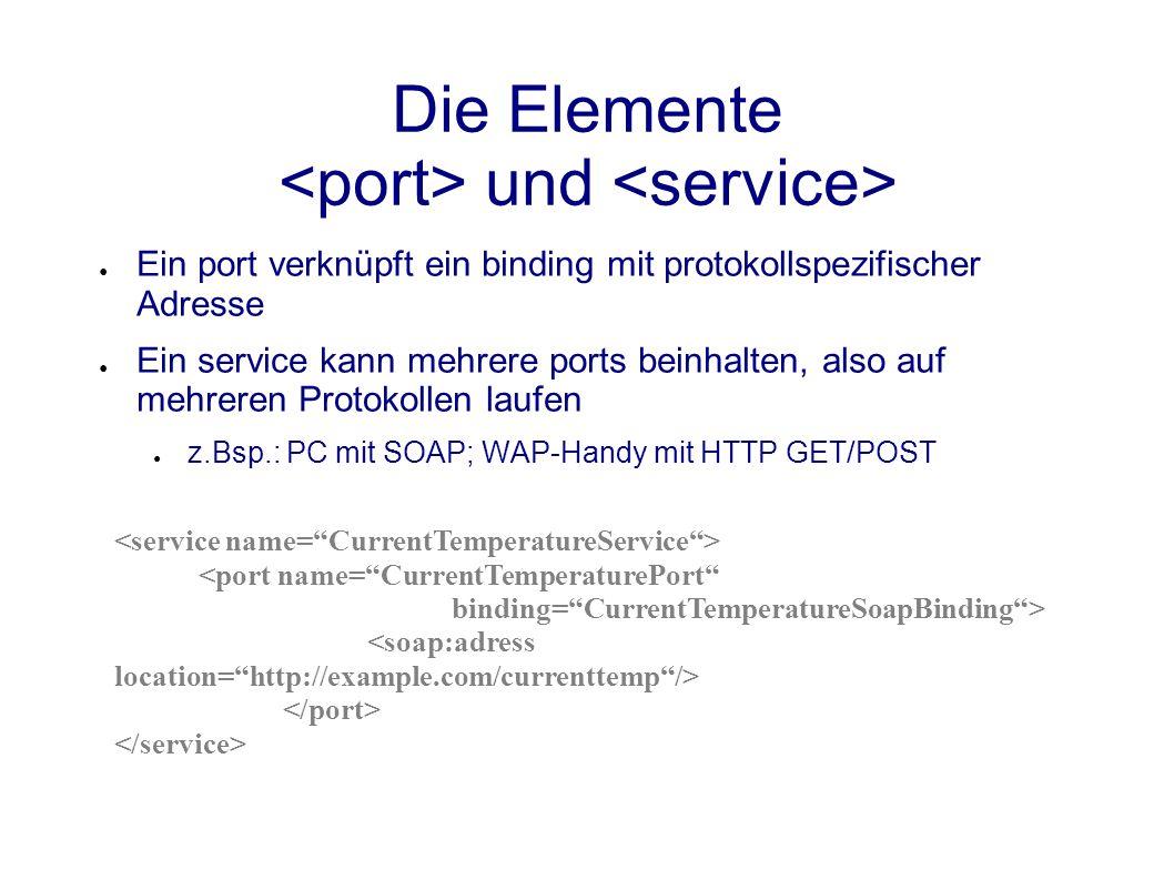 Die Elemente und ● Ein port verknüpft ein binding mit protokollspezifischer Adresse ● Ein service kann mehrere ports beinhalten, also auf mehreren Protokollen laufen ● z.Bsp.: PC mit SOAP; WAP-Handy mit HTTP GET/POST <port name= CurrentTemperaturePort binding= CurrentTemperatureSoapBinding >