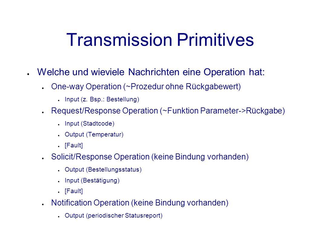 Transmission Primitives ● Welche und wieviele Nachrichten eine Operation hat: ● One-way Operation (~Prozedur ohne Rückgabewert) ● Input (z.