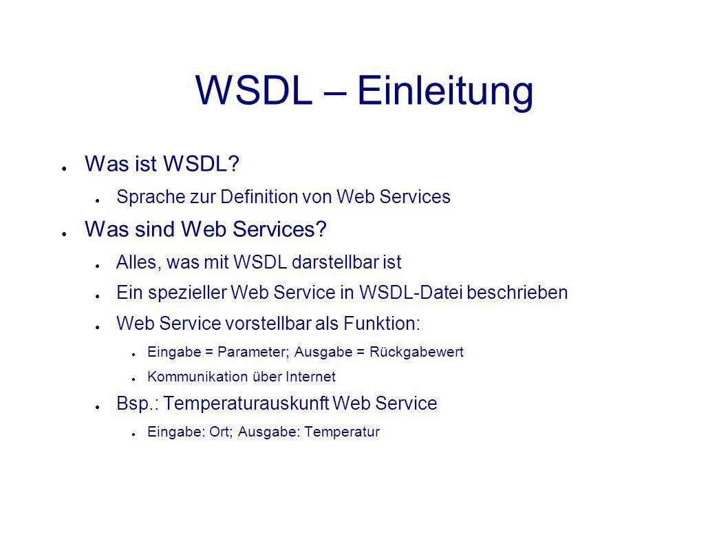 MIME Bindung ● Eingabe: Stadtcode; Ausgabe: Temperatur, HTML-Dokument mit Wochenaussicht <definitions...> <message> </message> </operation></portType> <binding name= CurrentTempSOAP type= tns:TempPort > <soap:binding style= document transport= http://schemas.xmlsoap.