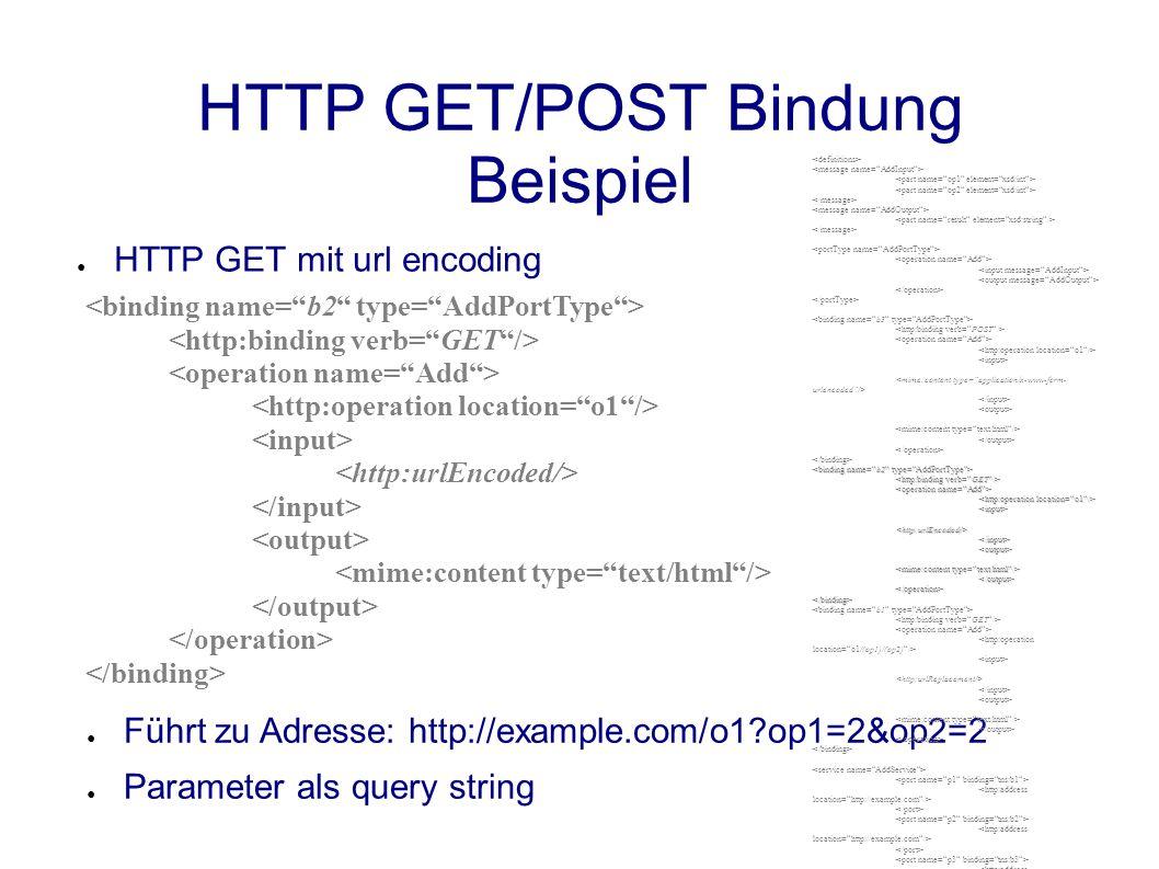 HTTP GET/POST Bindung Beispiel ● HTTP GET mit url encoding ● Führt zu Adresse: http://example.com/o1?op1=2&op2=2 ● Parameter als query string <input><http:urlEncoded/></input><output> </output></operation></binding>