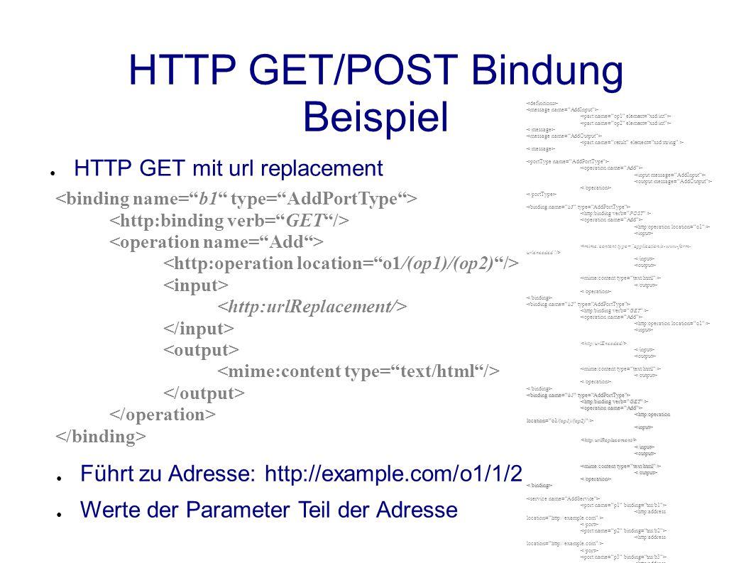 HTTP GET/POST Bindung Beispiel ● HTTP GET mit url replacement ● Führt zu Adresse: http://example.com/o1/1/2 ● Werte der Parameter Teil der Adresse <input><http:urlReplacement/></input><output> </output></operation></binding>