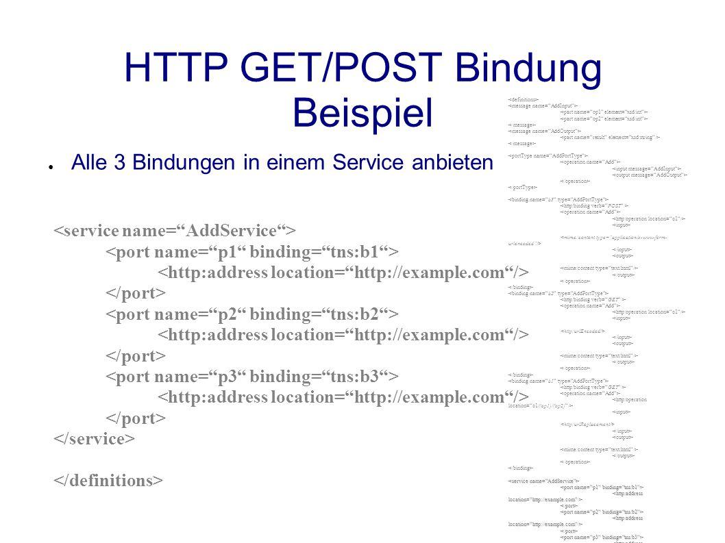 HTTP GET/POST Bindung Beispiel ● Alle 3 Bindungen in einem Service anbieten </port> </port> </port></service></definitions>