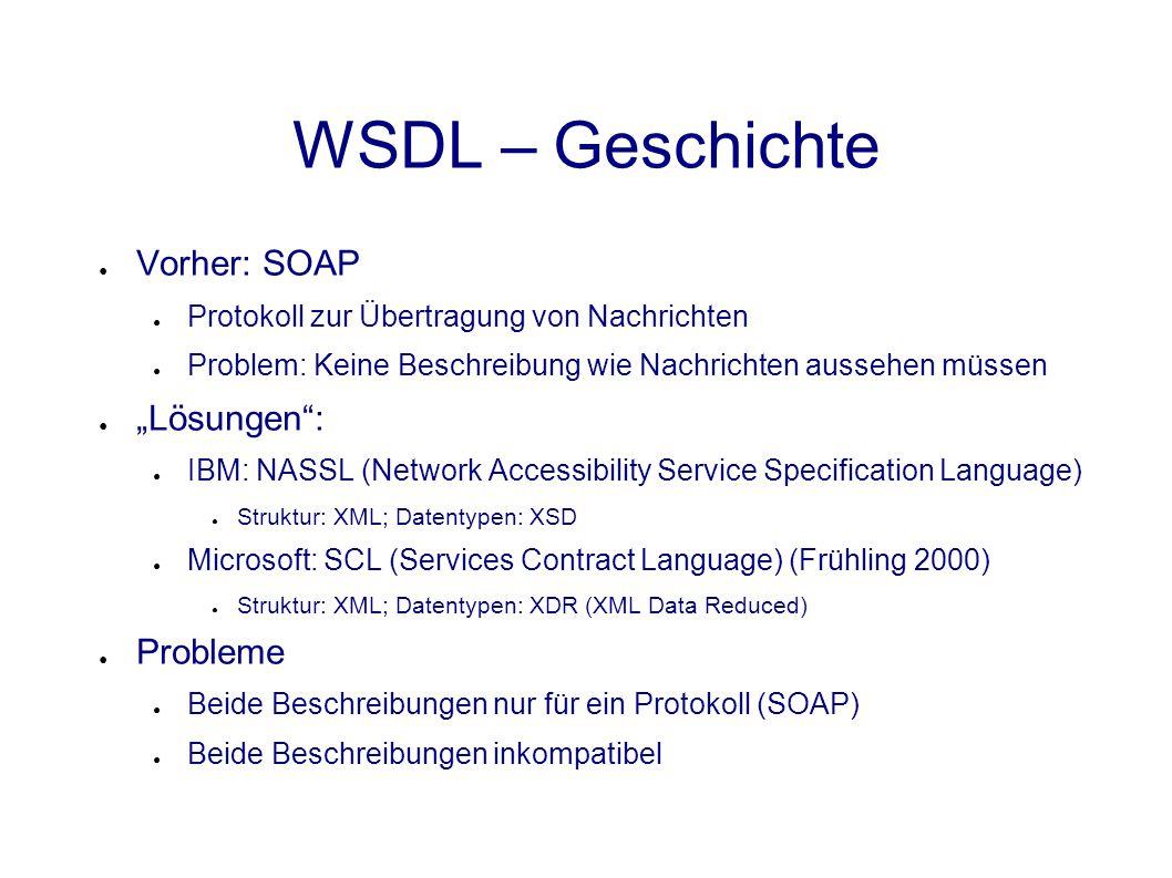 SMTP Beispiel ● Anmeldung zu einer Mailingliste (One-way Operation) ● SMTP am besten geeignet, da Protokoll one-way und asynchron ● HTTP ist two-way und synchron <definitions> </message> </operation></portType> <binding name= SubscribeListSoapBinding type= tns:SubscribePortType > <soap:binding style= document transport= http://exmaple.com/smtp /> <port name= MailingListPort binding= tns:SubscribeListSoapBinding > Funktion Übergabeparameter