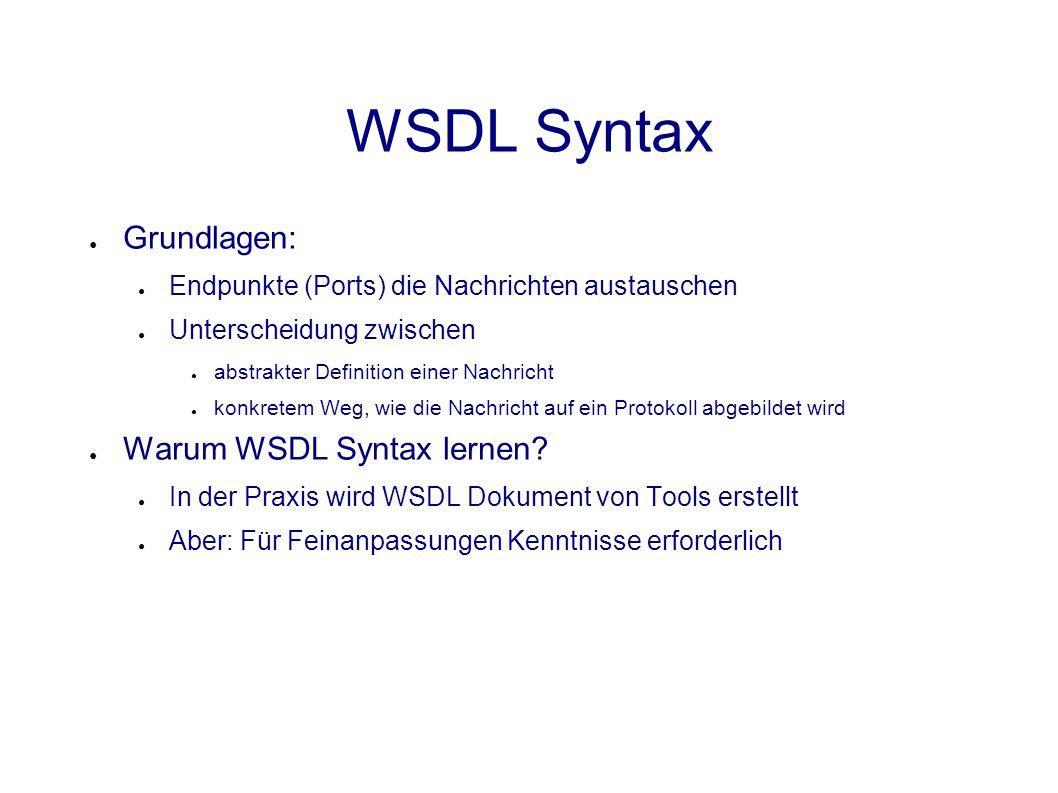 WSDL Syntax ● Grundlagen: ● Endpunkte (Ports) die Nachrichten austauschen ● Unterscheidung zwischen ● abstrakter Definition einer Nachricht ● konkretem Weg, wie die Nachricht auf ein Protokoll abgebildet wird ● Warum WSDL Syntax lernen.