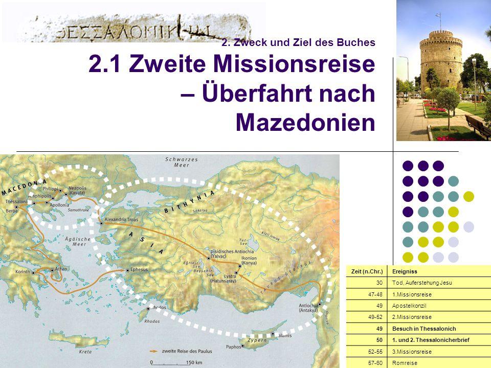 6 2. Zweck und Ziel des Buches 2.1 Zweite Missionsreise – Überfahrt nach Mazedonien Zeit (n.Chr.)Ereigniss 30Tod, Auferstehung Jesu 47-481.Missionsrei