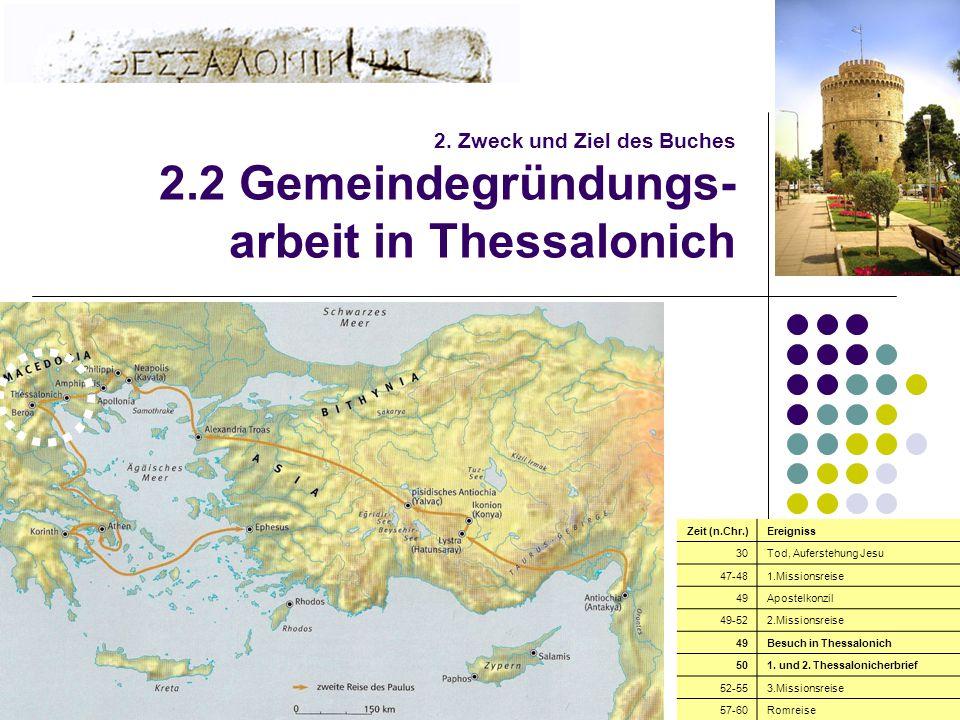 7 2. Zweck und Ziel des Buches 2.2 Gemeindegründungs- arbeit in Thessalonich Zeit (n.Chr.)Ereigniss 30Tod, Auferstehung Jesu 47-481.Missionsreise 49Ap