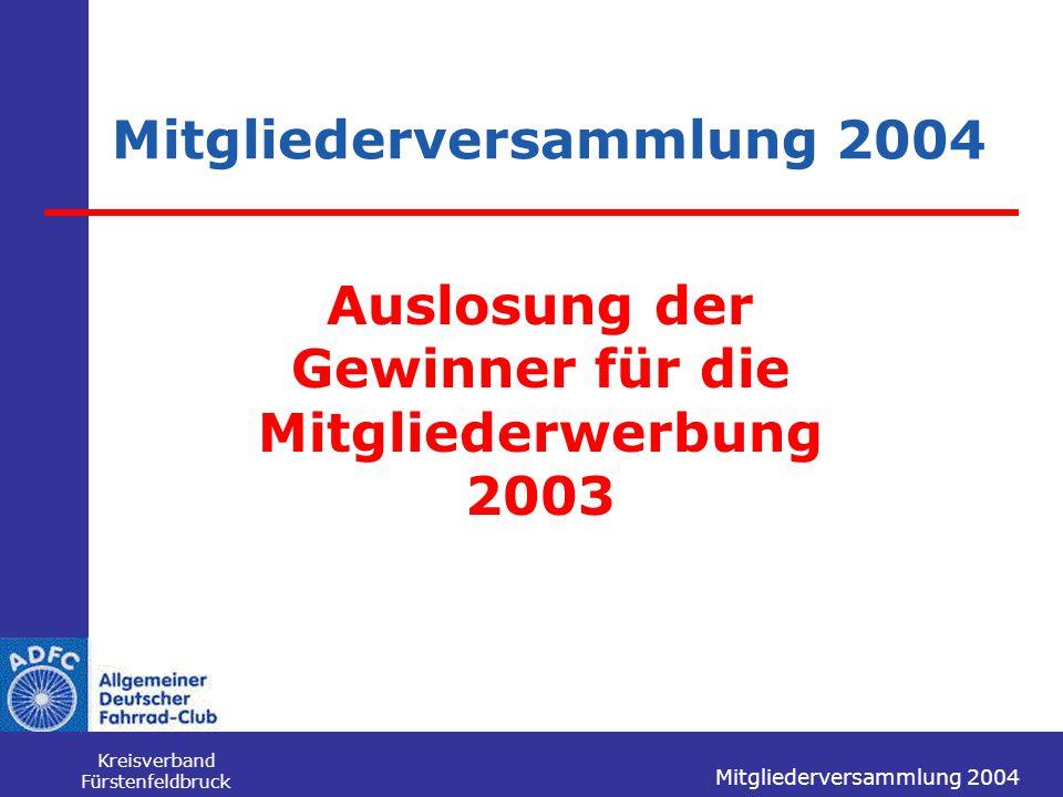 Mitgliederversammlung 2004 Kreisverband Fürstenfeldbruck Mitgliederversammlung 2004 Auslosung der Gewinner für die Mitgliederwerbung 2003