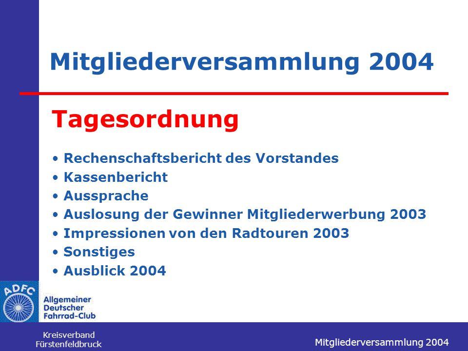 Mitgliederversammlung 2004 Kreisverband Fürstenfeldbruck Mitgliederversammlung 2004 Tagesordnung Rechenschaftsbericht des Vorstandes Kassenbericht Aus