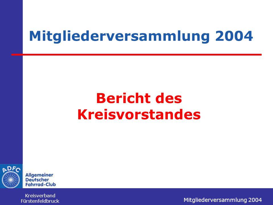 Mitgliederversammlung 2004 Kreisverband Fürstenfeldbruck Mitgliederversammlung 2004 Bericht des Kreisvorstandes