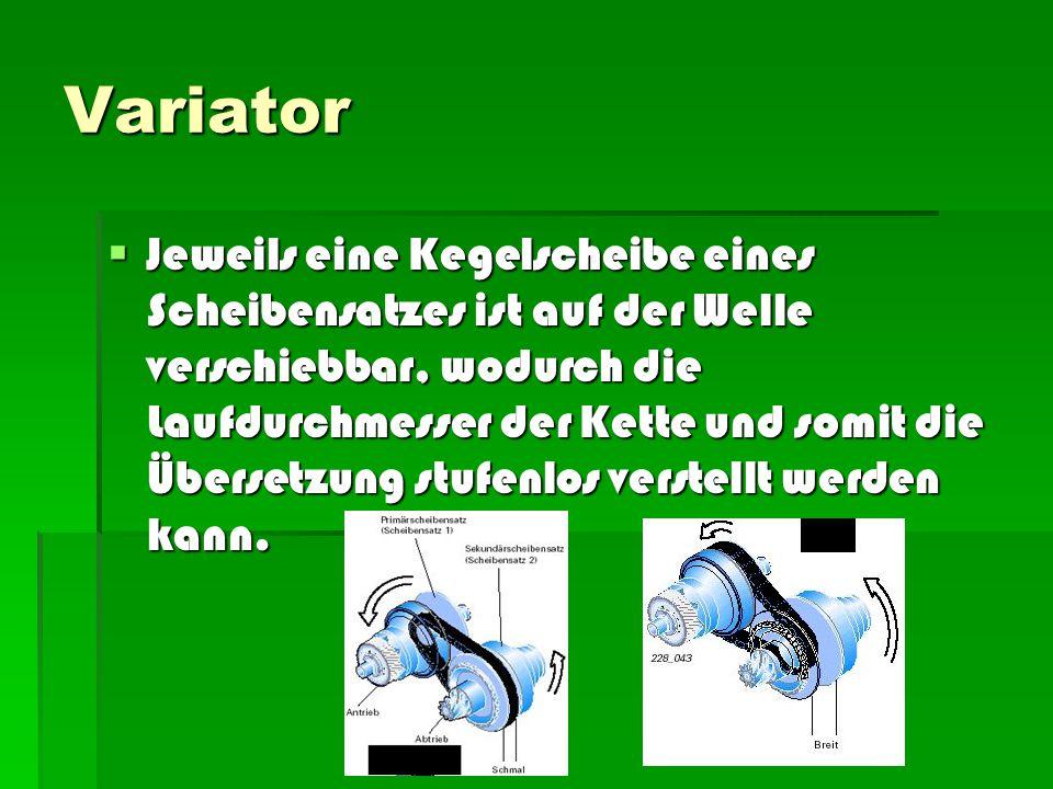 Variator  Die beiden Scheibensätze müssen gleichzeitig so verstellt werden, dass die Kette immer gespannt und die zur Kraftübertragung notwendige Anpresskraft der Scheiben sichergestellt ist.
