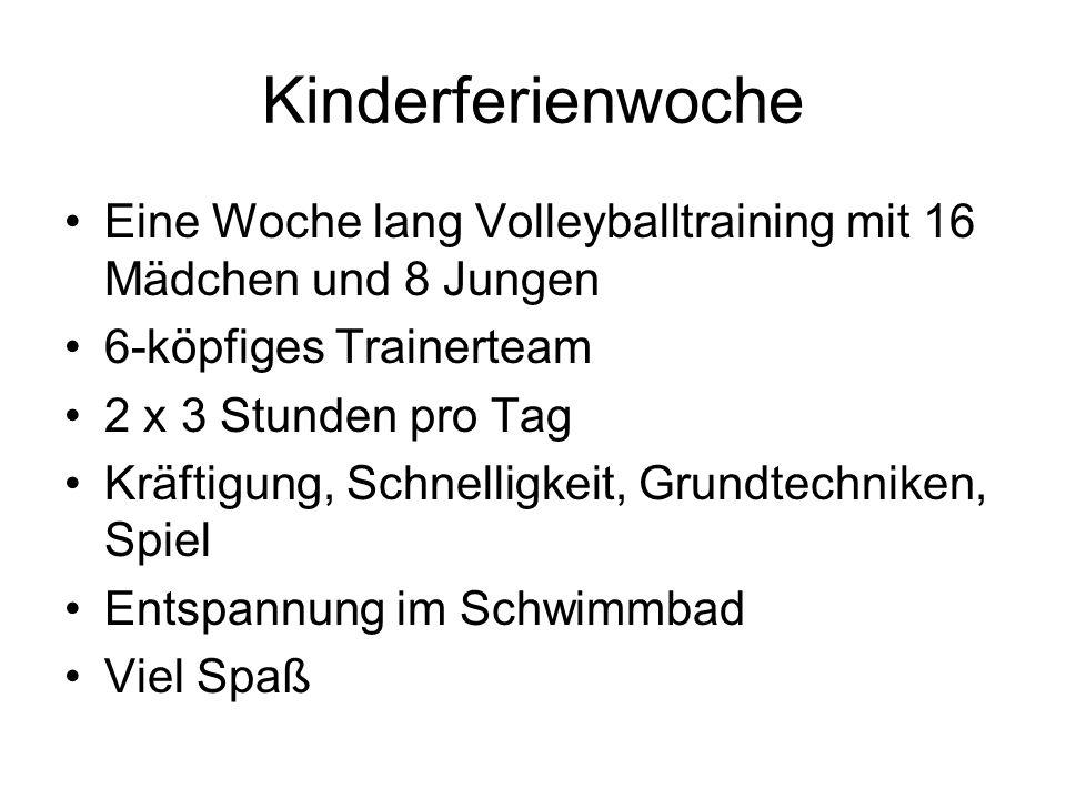 Kinderferienwoche Eine Woche lang Volleyballtraining mit 16 Mädchen und 8 Jungen 6-köpfiges Trainerteam 2 x 3 Stunden pro Tag Kräftigung, Schnelligkeit, Grundtechniken, Spiel Entspannung im Schwimmbad Viel Spaß