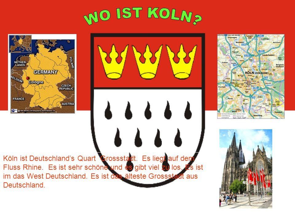 Köln ist Deutschland's Quart Grossstadt. Es liegt auf dem Fluss Rhine.