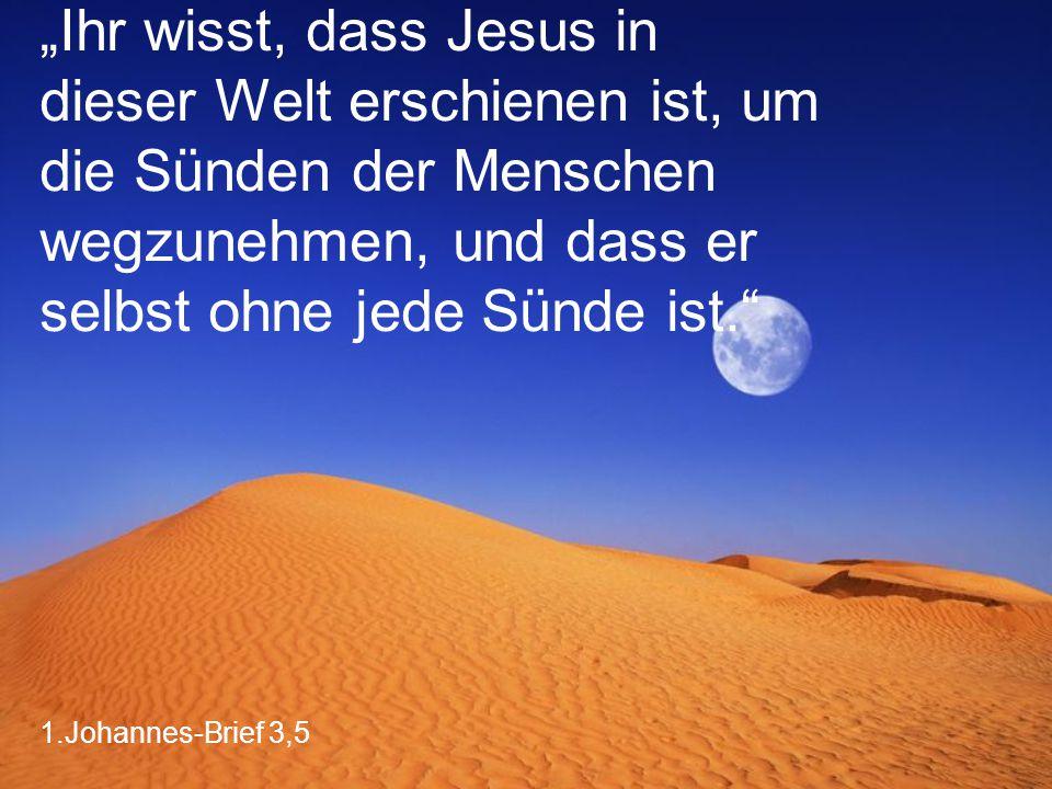 """1.Johannes-Brief 3,5 """"Ihr wisst, dass Jesus in dieser Welt erschienen ist, um die Sünden der Menschen wegzunehmen, und dass er selbst ohne jede Sünde ist."""