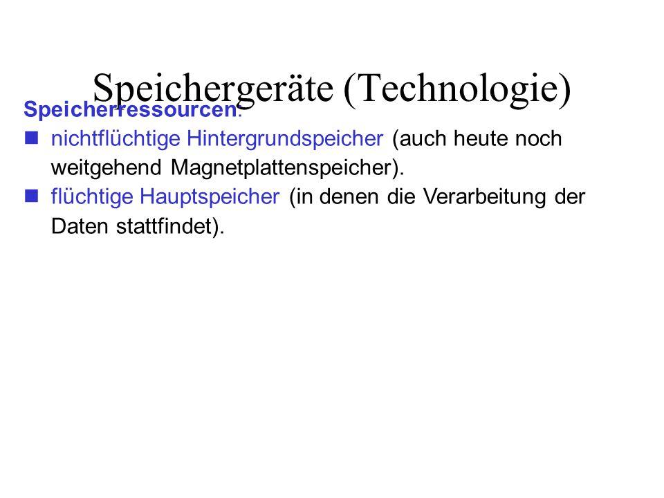 Speichergeräte (Technologie) Speicherressourcen: nichtflüchtige Hintergrundspeicher (auch heute noch weitgehend Magnetplattenspeicher).