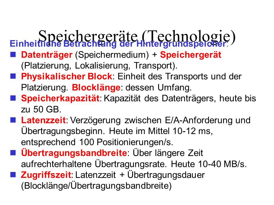 Speichergeräte (Technologie) Einheitliche Betrachtung der Hintergrundspeicher: Datenträger (Speichermedium) + Speichergerät (Platzierung, Lokalisierung, Transport).