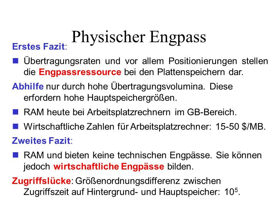 Physischer Engpass Erstes Fazit: Übertragungsraten und vor allem Positionierungen stellen die Engpassressource bei den Plattenspeichern dar.