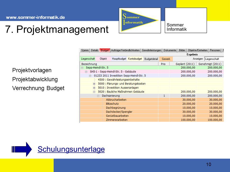 10 7. Projektmanagement Schulungsunterlage Projektvorlagen Projektabwicklung Verrechnung Budget