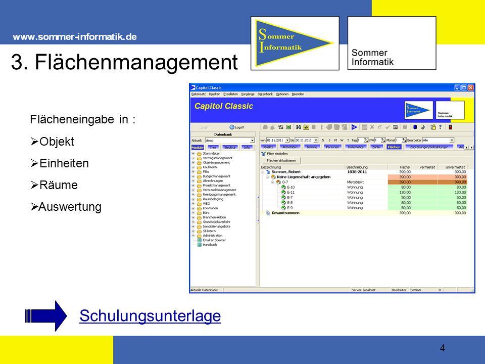 4 3. Flächenmanagement Flächeneingabe in :  Objekt  Einheiten  Räume  Auswertung Schulungsunterlage