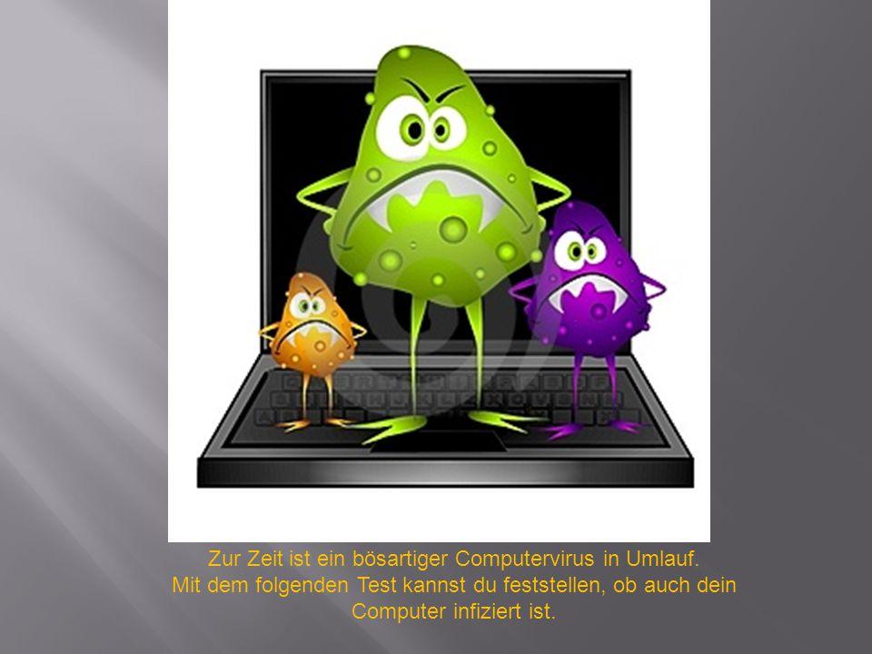 Zur Zeit ist ein bösartiger Computervirus in Umlauf. Mit dem folgenden Test kannst du feststellen, ob auch dein Computer infiziert ist.
