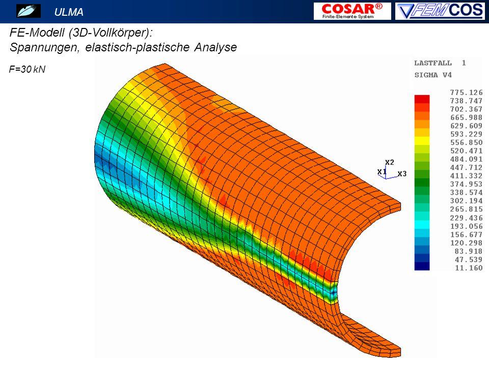 ULMA FE-Modell (3D-Vollkörper): Spannungen, elastisch-plastische Analyse F=30 kN