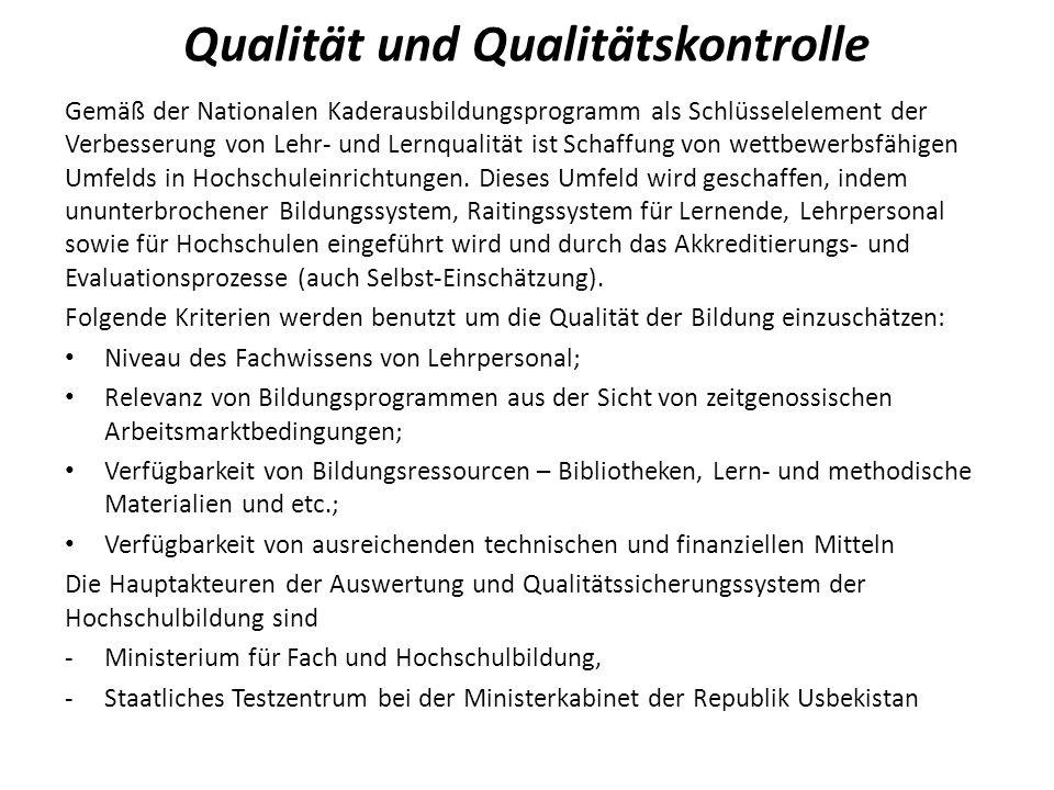 Qualität und Qualitätskontrolle Gemäß der Nationalen Kaderausbildungsprogramm als Schlüsselelement der Verbesserung von Lehr- und Lernqualität ist Sch