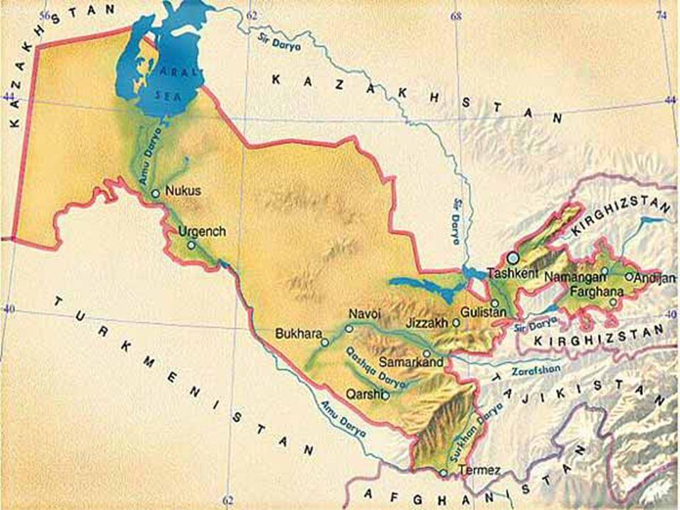 Usbekistan in Zahlen Offizielle Name: Republik Usbekistan Fläche: 447,400 km (172,700 mil) Bevölkerung: 30 Millionen Hauptstadt: Taschkent (3 millionen Einwohner) Etnien: 80% Usbeken, 5.5% Russen, 5% Tadschiken, 3% Kazakhen, 2.5% Karakalpaken Sprache: Usbekisch, Russisch Religion: 88% Muslim (die meisten Sunnis), 9% Russisch Orthodox Politische System: Republik President: Islam Karimov GDP: US$ 90 Milliarden Jähliches Wachstum: 8 % Hauptindustrien: Textil, Lebensmittel, Maschinenbau, Metallurgie, Erdgas, Baumwolle, Obst und Gemüse, Früchte, Getreide und Viehzucht Wichtigste Handelspartner: Russland, Südkorea, China, Europa (Deutschland), GUS Staaten