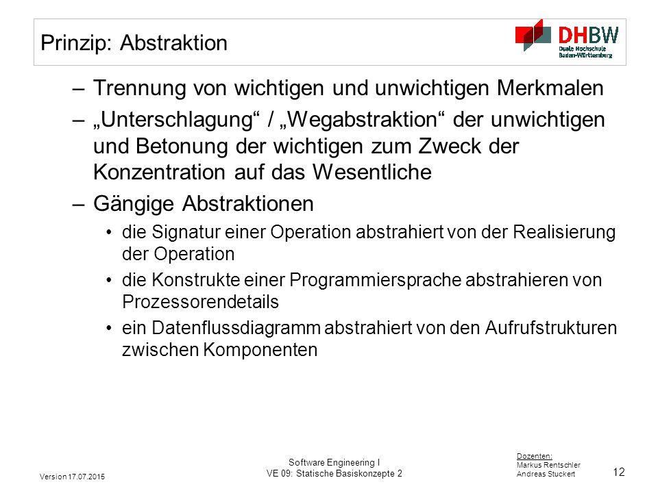 12 Dozenten: Markus Rentschler Andreas Stuckert Version 17.07.2015 Software Engineering I VE 09: Statische Basiskonzepte 2 Prinzip: Abstraktion –Trenn