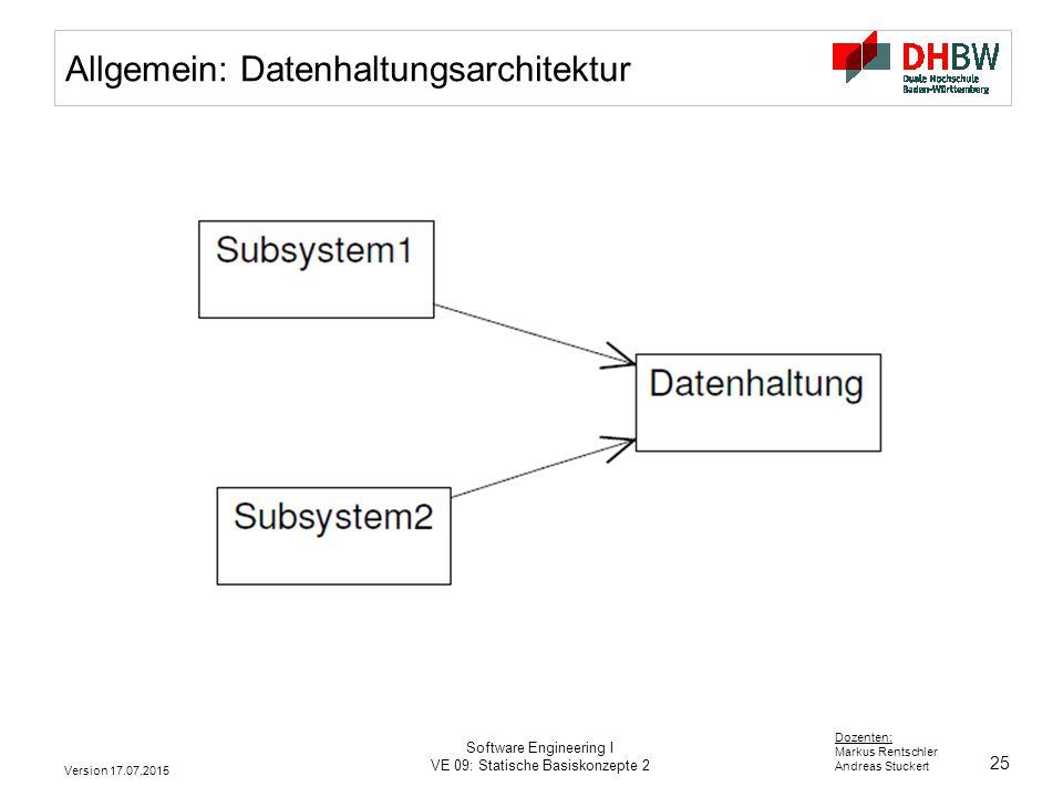 25 Dozenten: Markus Rentschler Andreas Stuckert Version 17.07.2015 Software Engineering I VE 09: Statische Basiskonzepte 2 Allgemein: Datenhaltungsarc
